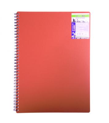 Блокнот A4 80л клетка Classic, боковая спираль красный, Buromax