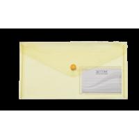 Папка-конверт DL на кнопке пластиковая желтая Travel, Buromax