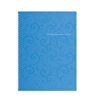 Блокнот A4 80л клетка боковая спираль, Barocco голубой, Buromax