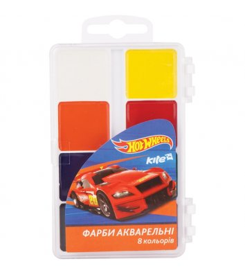 "Акварель  8 кольорів медова без пензлика ""Hot Wheels"", Kite"