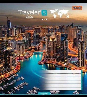 Тетрадь 96 листов линия, обложка Путешествия/Города в ассортименте