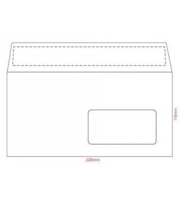 Конверт E65 1шт білий офсет з вікном в правому кутку з відривною стрічкою