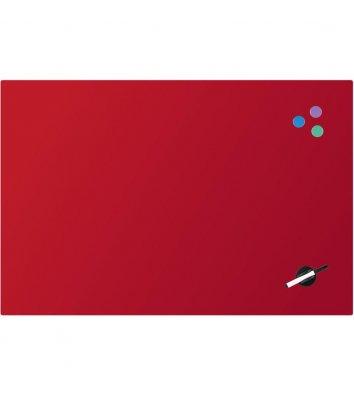Доска стеклянная магнитно-маркерная 60х90см красная, Axent