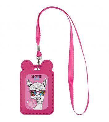 Бейдж на шнурке вертикальный розовый, Kite