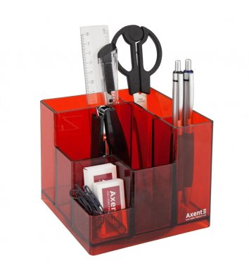 Набір настільний  канцелярський  9 предметів Cube червоний, Axent