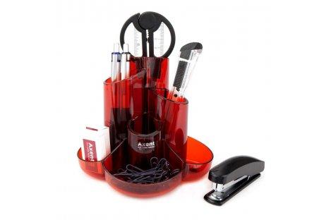 Набір настільний  канцелярський  9 предметів Cascade червоний, Axent