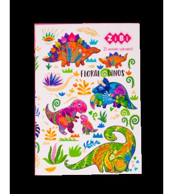 "Блокнот А5 64арк клітинка ""Floral Dinos"", Zibi"