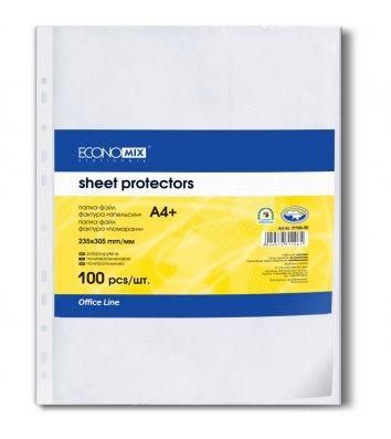 Файлы А4+ 30мкм 100шт матовые, Economix