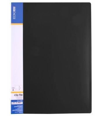 Папка-скоросшиватель А4 пластиковая Clip A черная, Economix