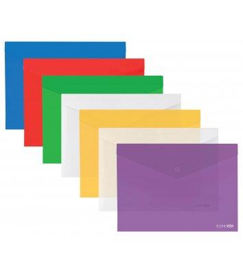 Папка-конверт А4 на кнопці пластикова прозора асорті, Economix
