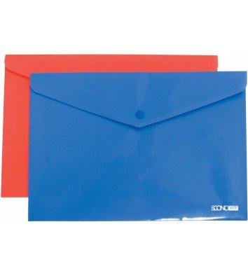 Папка-конверт А4 на кнопці пластикова непрозора асорті, Economix