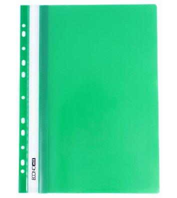 Папка-скоросшиватель А4 с перфорацией, фактура глянец зеленая, Economix