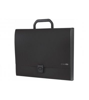 Портфель А4 пластиковый на застежке 1 отделение черный, Economix