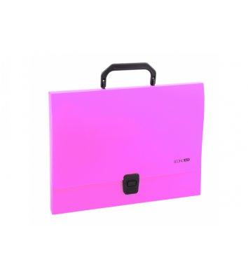 Портфель А4 пластиковый на застежке 1 отделение розовый, Economix