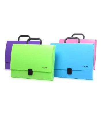 Портфель А4 пластиковый на застежке 1 отделение голубой, Economix
