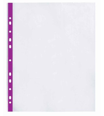 Файли А4+ 40мкм 100шт глянцеві з фіолетовою стрічкою, Optima