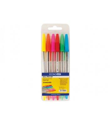 Набір кулькових ручок  6 кольорів 0,4мм Standard, Economix