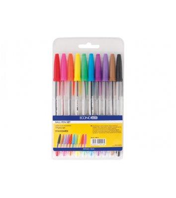 Набір кулькових ручок 10 кольорів 0,4мм Standard, Economix