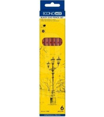 Набір чорнографітних олівців H-B 6шт, Economix