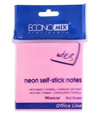 Стикеры 75*75мм 100л розовые, Economix