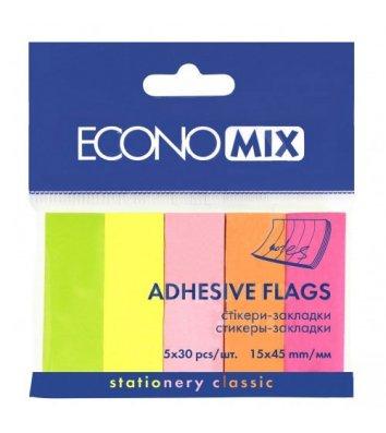 Стикеры-закладки бумажные 15*45мм 150л 5 неоновых цветов ассорти, Economix