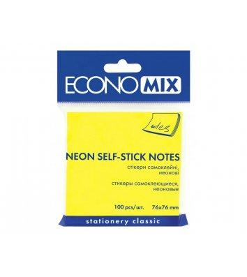 Стикеры 75*75мм 100л неоновые желтые, Economix