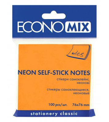 Стикеры 75*75мм 100л неоновые оранжевые, Economix