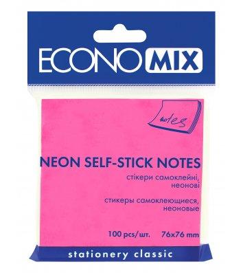 Стикеры 75*75мм 100л неоновые розовые, Economix