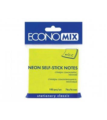 Стикеры 75*75мм 100л неоновые салатовые, Economix