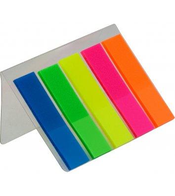 Стикеры-закладки пластиковые 12*45мм 125л 5 неоновых цветов ассорти, Economix