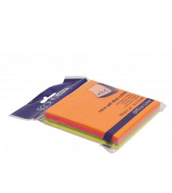 Стикеры 75*75мм 100л 4 неоновых цвета ассорти, Economix