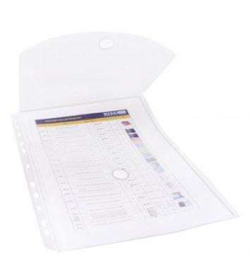 Папка-конверт А4 на липучке пластиковая прозрачная з боковой вертикальной перфорацией, Economix