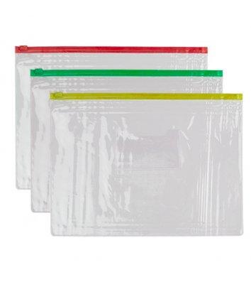 Папка-конверт B5 на блискавці пластикова асорті, Economix