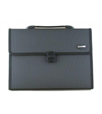 Портфель А4 пластиковый на застежке 13 отделений черный, Economix