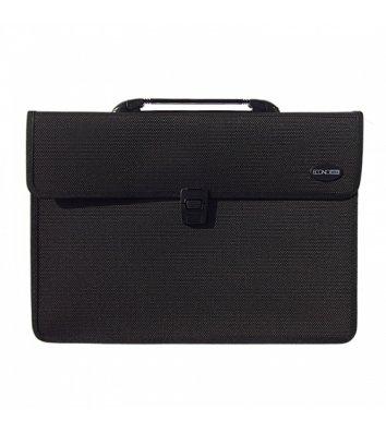 Портфель B4 пластиковый на застежке 2 отделения черный, Economix
