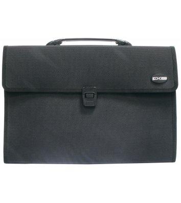Портфель B4 пластиковый на застежке с тканевой каймой 3 отделения черный, Economix