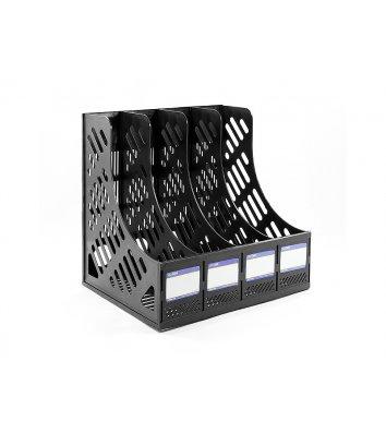 Лоток вертикальний збірний на 4 відділення пластиковий чорний, Economix