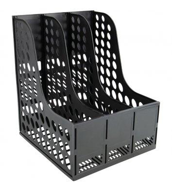 Лоток вертикальний збірний на 3 відділення пластиковий чорний, Economix