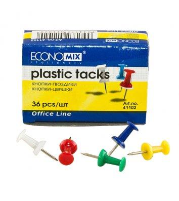 Кнопки - цвяшки кольорові 36шт, Economix