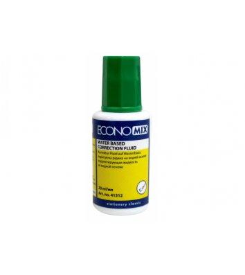 Корректирующая жидкость 20мл с кисточкой на водной основе, Economix