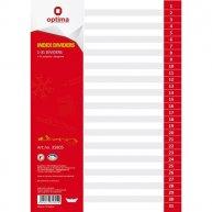 Розділювачі аркушів А4 31 розділи пластикові нумеровані, Optima