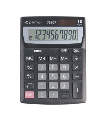 Калькулятор 10 розрядів 137*103*32мм, Optima