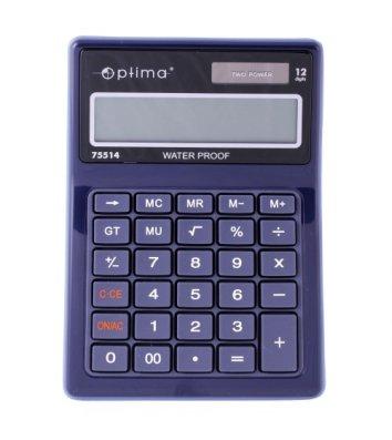 Калькулятор 12 разрядов 170*119*26мм водонепроницаемый, Optima