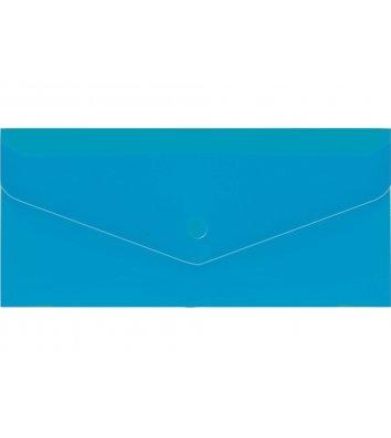 Папка-конверт E65 на кнопці пластикова прозоора синя, Economix