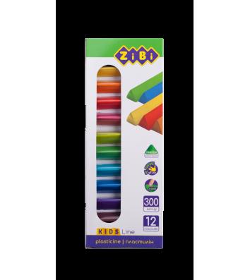 Пластилін 12 кольорів 300г, Zibi