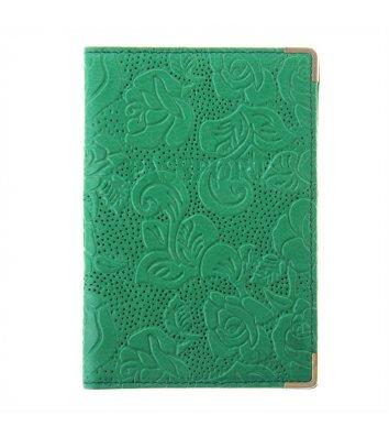 Обкладинка для паспорту шкіряна темно-зелена, Desisan