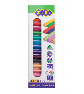 Пластилин 17 цветов 12 стандарт + 5 неон 272г, Zibi