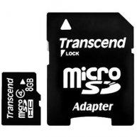 Карта памяти 8GB Transcend microSDHC Class 4 с SD адаптером