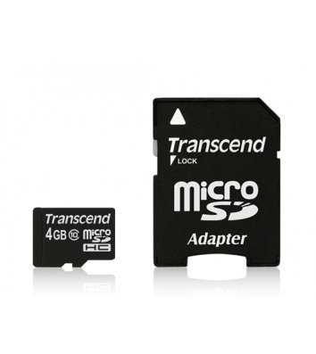 Карта пам'яті  4GB Transcend microSDHC Class 4  з SD адаптером