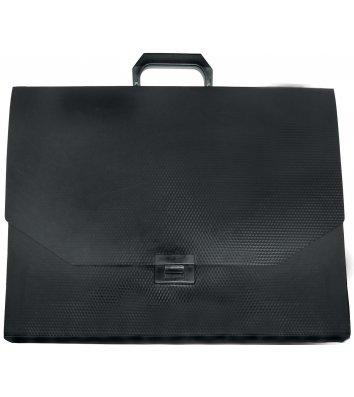 Портфель А3 пластиковый на застежке черный, Economix